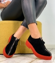Pantofi Casual / Angel Black & Red PN