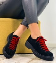 Pantofi Casual / Eve Black PN & Red Laces