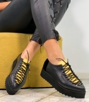 Pantofi Casual / Adonis Black & Yellow