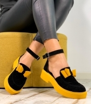 Sandale Dama / Calipso Black & Yellow Bow