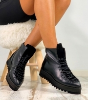 Pantofi Casual / Long Adonis Simple Black & PN