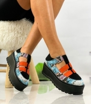 Pantofi Casual / Petty Blue & Orange Snake